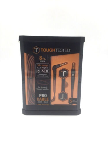 """Tough Tested Pro Audio 3.5 mm Aux  Auxiliary Cable Extra Heavy Duty 8"""" Ft NEW"""