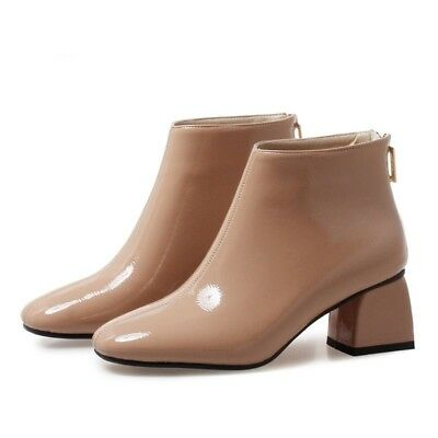 Spring Women Platform High Heels Boot Round Toe Comfortable Ankle Leather Shoes | eBay