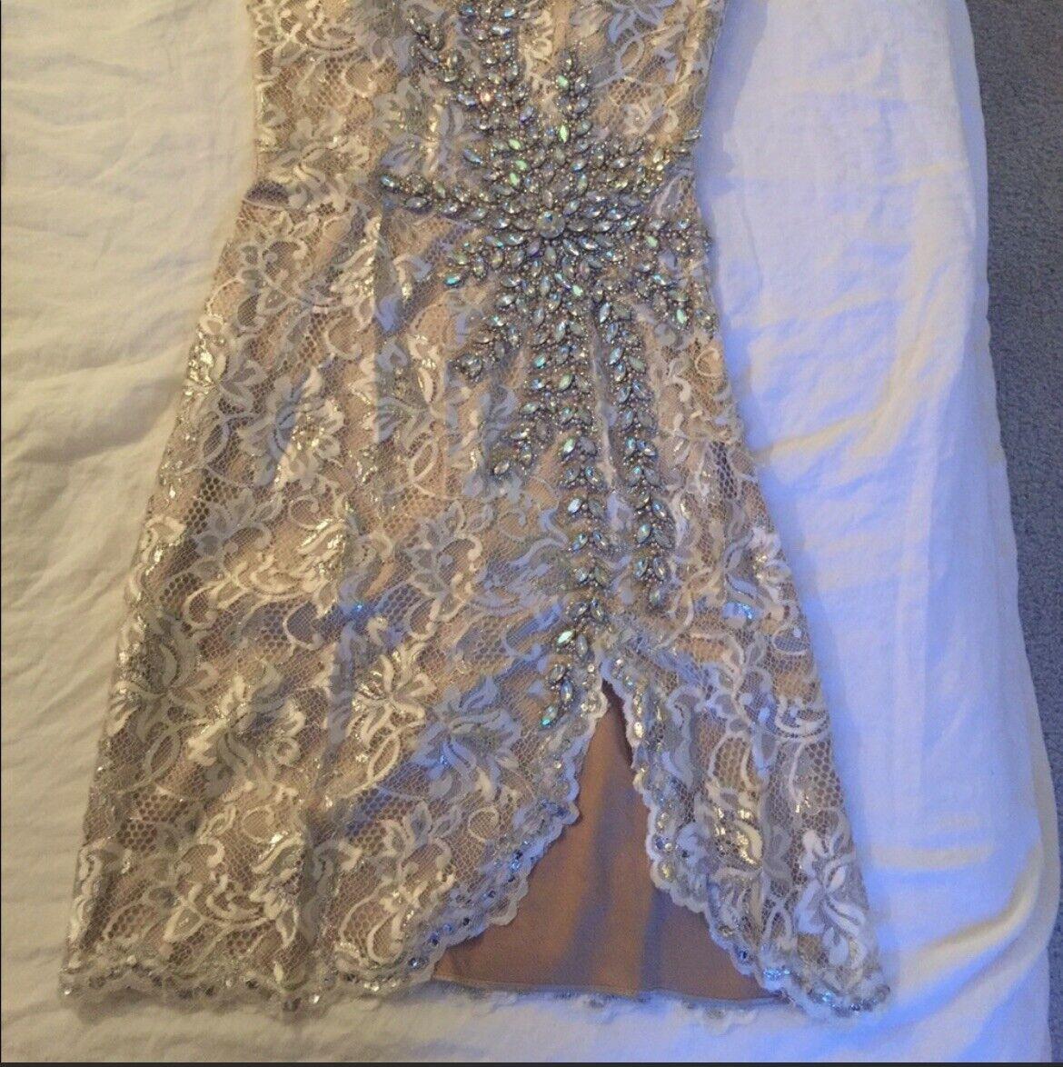 Terrani Couture Crystal Nude Dress Wedding Formal - image 4