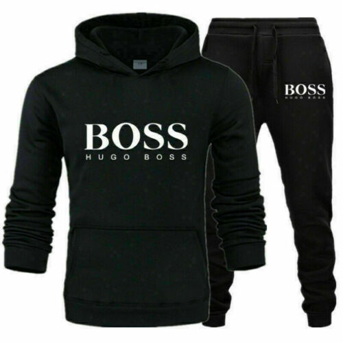 Men LOGO Tracksuit Sets Hoodies Bottoms Trousers Fitness Jogging Sportwear Suits