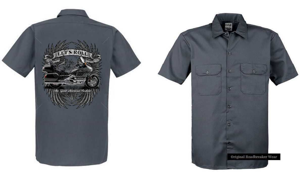 Worker Shirt grey mit einem goldwing Motiv Modell Lets Roll