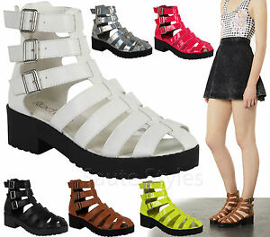 Ladies-Womens-Cut-Out-Gladiator-Strappy-Boots-Chunky-Platform-Sandals-Shoes-Size