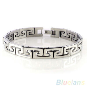 Fashion-Men-039-s-Punk-Stainless-Steel-Chain-Wristband-Clasp-Cuff-Bangle-Bracelet