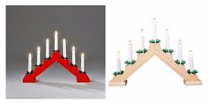 CANDELA-di-Natale-in-legno-Ponte-7-Lampadina-Luce-Finestra-tabella-Pre-Illuminate-Arch-Decorazione