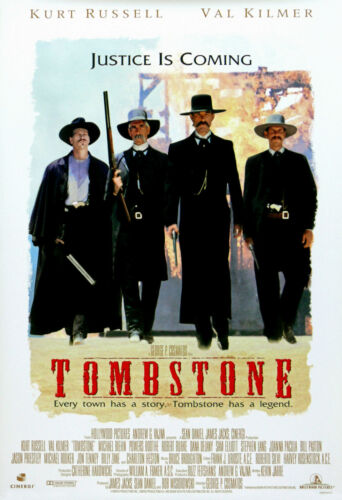 """Tombstone Val Kilmar Movie Poster Kurt Russell /""""Every town has a story...."""