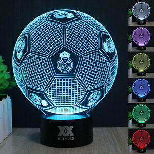 Real Madrid Football 3d Led Night Light 7 Color Touch