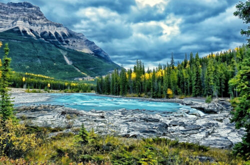 Encadrée Imprimer-Cristal Bleu de lac de montagne (Photo Poster arbres pittoresques art)