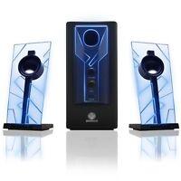 Glowing Computer Speakers Desktop Surround Sound Audio System Bass Subwoofer