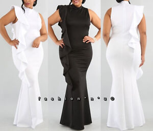Plus Size Side Ruffle Mermaid Maxi Dress Bodycon Gown Black White  d4d584700a38