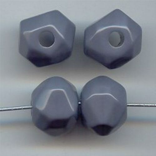 24 VINTAGE GREY ACRYLIC 12x16mm FACETED LARGE HOLE NUGGET BEADS 5669