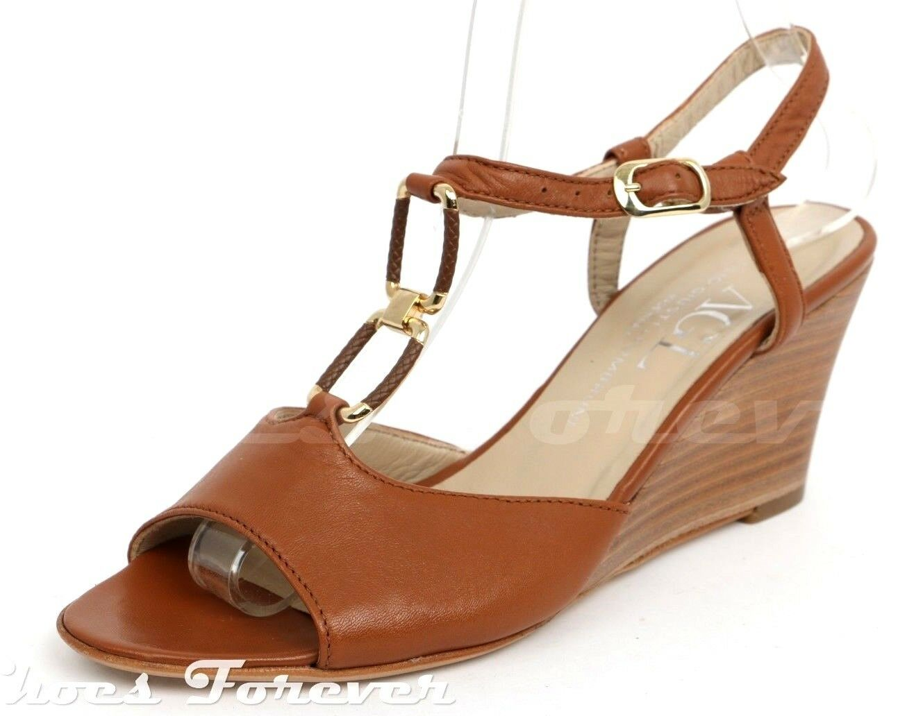 Womens AGL Brown Leather Ankle Strap Wedges shoes Sz. 36.5