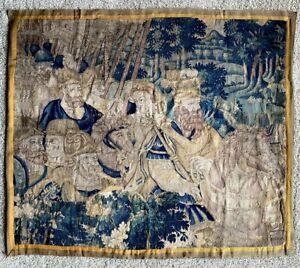 Antique-French-15-16th-c-Aubusson-Tapestry-Panel-Horses-Lord-amp-Lady-Soldiers