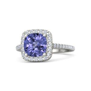 2-50-Ct-Natural-Tanzanite-Gemstone-Real-Diamond-Ring-14K-Solid-White-Gold
