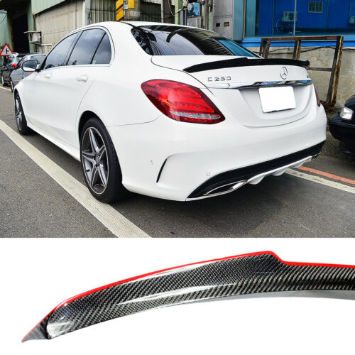Carbon Fiber Red Line Mercedes BENZ W205 C-class V-Type Trunk Spoiler Sedan
