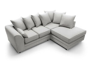 Darcy Corner Sofa In Light Grey Linen Fabric 2 Or 3 Seater Or A Foostool Ebay