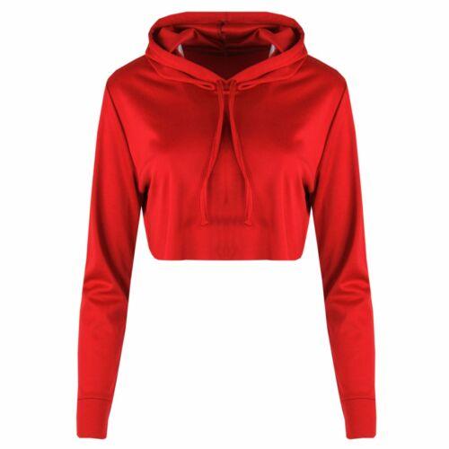 W16 New Girl Women Hoodie Long Sleeve Crop Top Sweatershirt