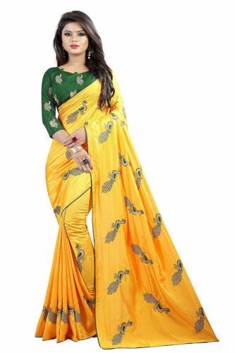 Yellow Peacock Embroidered Saree Indian Pakistani Ethnic Wedding Designer Sari