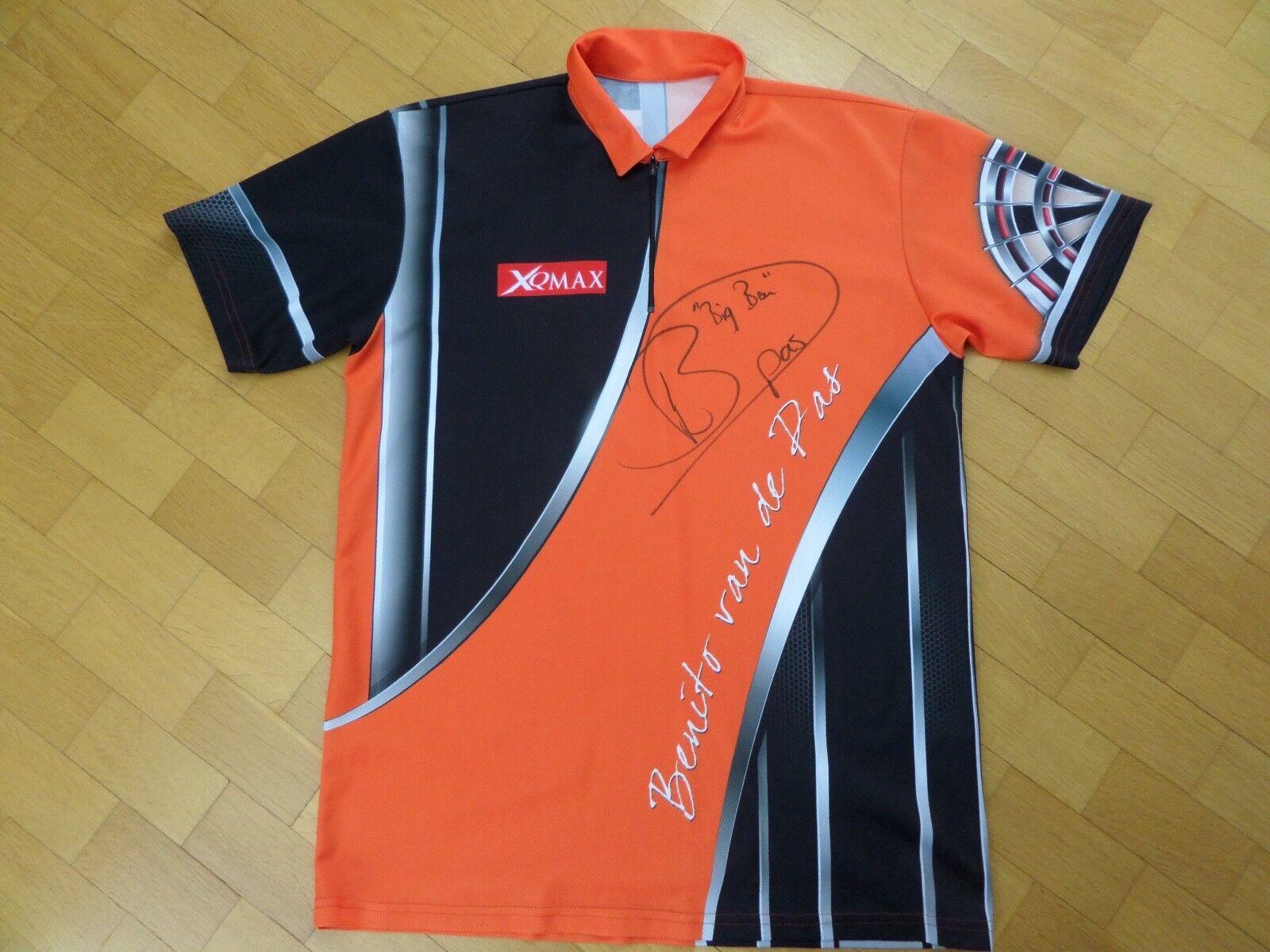 PDC Dart Benito van de Pas signiertes matchworn Trikot Shirt ca XL XQ Max Darts