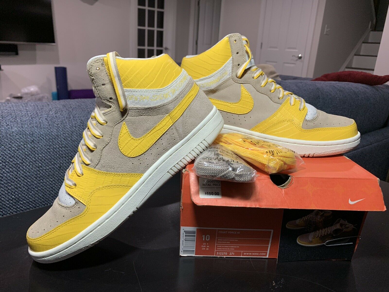 2005 Nike Dunk COURT FORCE HI STUSSY BONE MAIZE YELLOW SIZE 10 - DS Conditon
