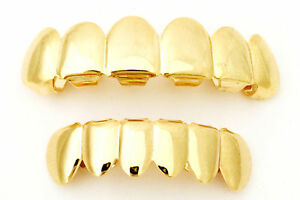 Hip Hop Pimp Costume Lil Wayne Diddy Gold Mouth Teeth Grillz Set Player USA SHIP
