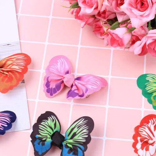 10 Pcs cute kids girls toddler baby 3D butterfly hair clip grosgrain hairpiODUS