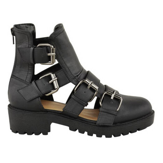 LADIES WOMENS CUT OUT GLADIATOR ANKLE BOOT SANDALS LOW HEEL STRAPPY SHOES SIZE