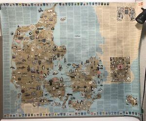 Vintage Faroe Islands Denmark Sweden Rare Educational Large Poster Information