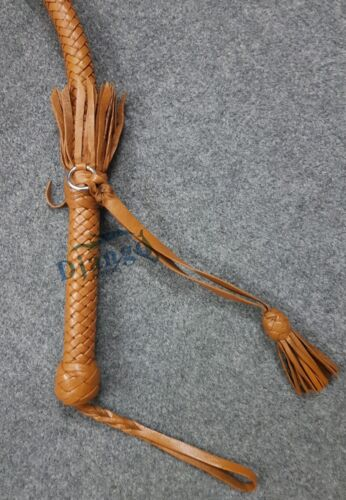2.8 Feet 12 Plait Genuine Kangaroo Leather Nagayka Kamcha Whip Flogger Bullwhip