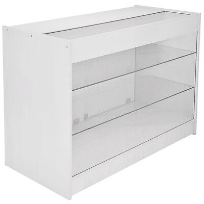 Lockable Retail Glass Shelf Cabinet / Lilac White Store Showcase Counter - K1200