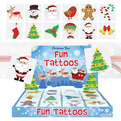 12 Festive Christmas Temporary Tattoos Kids Party Bag Stocking Pinata Filler 4cm