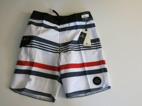 Rip Curl Boys 24 Red White Black Blue Stripe Covine Surf Swim Board Shorts NWT