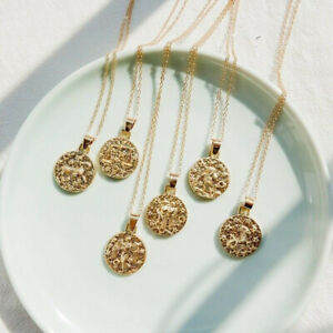 Vintage-Round-12-Constellation-Gold-Stainless-Necklace-Charm-Zodiac-Pendant-Gift