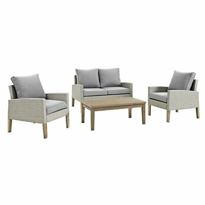 Walker Edison 4 Piece Eucalyptus and Rattan Patio Conversation Set
