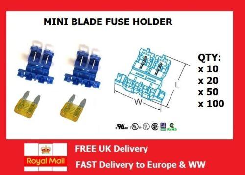 10 100 Self Stripping en línea estándar mini portafusible Blade Cant 50 20