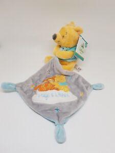 Doudou-Winnie-mouchoir-bleu-gris-Tigrou-Hugs-amp-Wishes-Disney-Nicotoy-etoile-NEUF