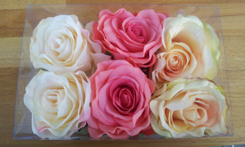 6 x Rosenknospen 10cm Seide Blüten Draht Seidenblumen Rosenblüte Streublume Rose
