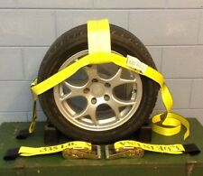 "Car Wheel Nets Tow Dolly Straps Adjustable Tie Down With Ratchets USA YELLOW 4""T"