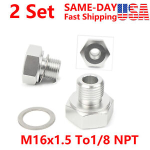 Oil Fuel Pressure Sensor Connector M16X1.5 to 1//8 NPT for GM LS Engine