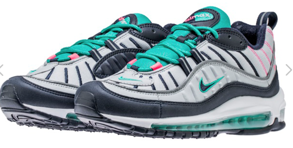 Nike Air Max 98 South Beach 640744-005 Pure Platinum, Obsidian 100%Authentic
