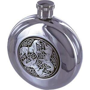 5oz Round CELTIC HORSE FLASK Stainless Steel Hip Pocket Screw Cap Irish Whiskey