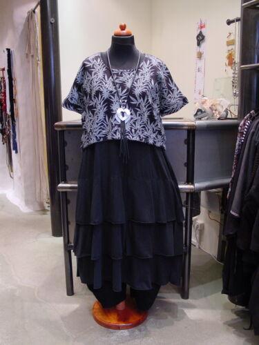 ~ 3 Collection° Schwarz Überwurf weiß Lagenlook Kurzer Se Shirt XR8ZR