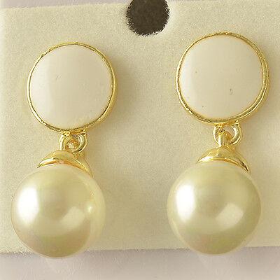 Authentic 9K Yellow Gold Filled Pearl & Enamel Womens Stud Earrings,Z5497