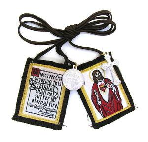 Scapular-Sacred-Heart-Jesus-Mt-Carmel-Brown-Scapular-100-Wool-amp-Medals-Catholic