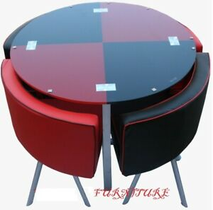 Details About NEW MODERN Space Saver Set Black U0026 Red Round Glass Dining  Table U0026 4 Chairs
