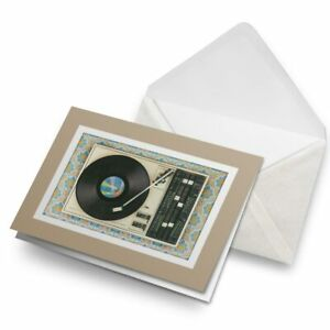 Greetings-Card-Biege-Retro-Old-Vinyl-Record-Player-Music-24109