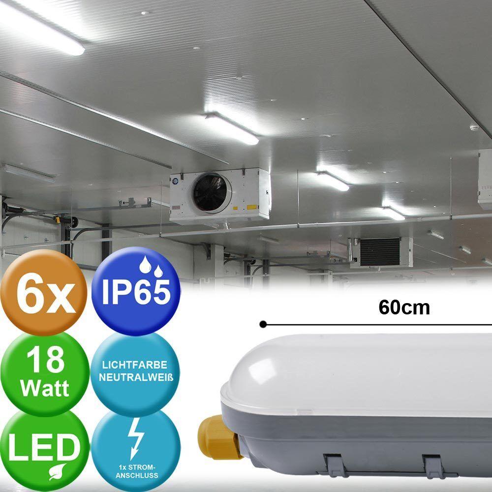 6x LED vasche TUBI FARETTO soffitto Luci magazzini bagnato spazio LAMPADE