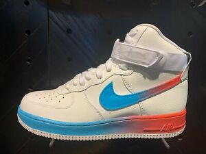 Details about Nike Air Force 1 One High AP White Ember Glow Blue Fury Black  Gradient Sz 8-13
