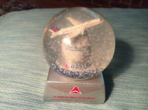 Delta-Airlines-Flight-Attendant-Snow-Globe-with-Jet-75-Years-Service-Mint