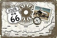 Route 66 Compass/Map embossed metal sign     (na 3020)