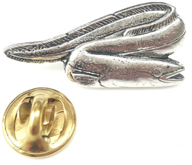 River Eel Fish Handcrafted from English Pewter in the UK Lapel Pin Badge